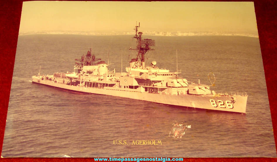 Old United States Navy Destroyer Ship U.S.S. Agerholm DD-826 Color Photograph