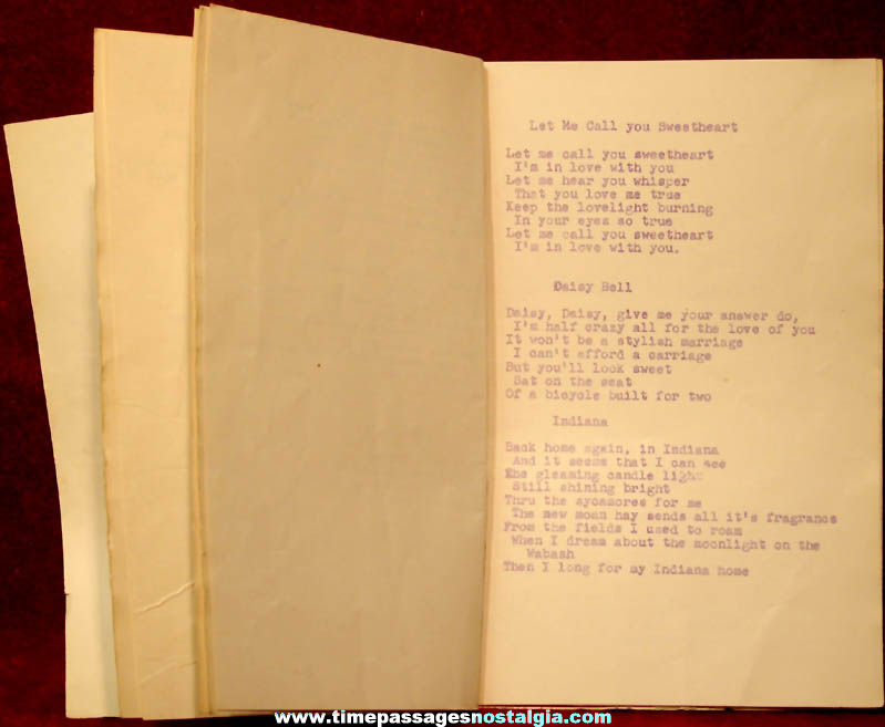 1949 Officer's Club Navy Building Boston Massachusetts Farewell Party Song Booklet
