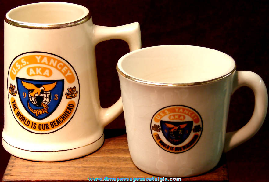 Old United States Navy U.S.S. Yancey (AKA-93) Attack Cargo Ship Advertising Ceramic Beer Mug & Coffee Cup