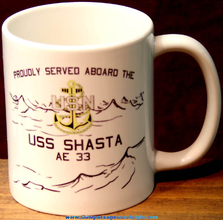 Old United States Navy U.S.S. Shasta (AE-33) Attack Cargo Ship Advertising Ceramic Coffee Cup
