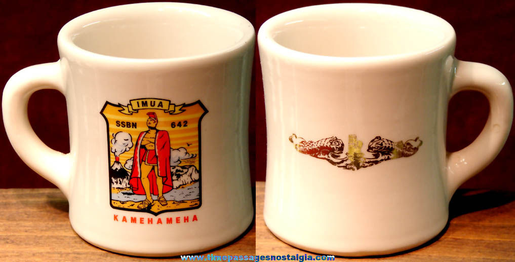 Old United States Navy U.S.S. Kamehameha (SSN 642) Nuclear Submarine Advertising Ceramic Coffee Cup