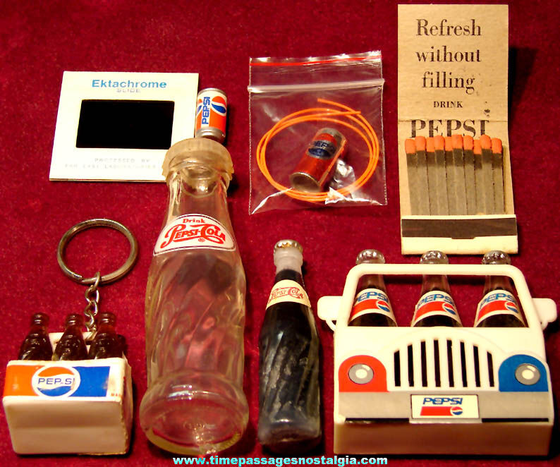 (8) Different Small Old Pepsi Cola Soda Advertising Items