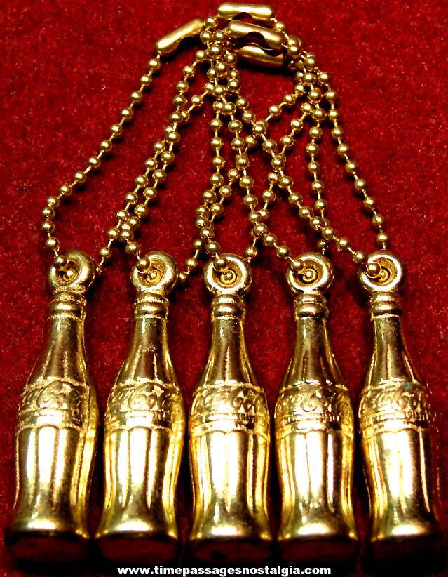 (5) Old Unused Coca Cola Advertising Premium Metal Soda Bottle Key Chain