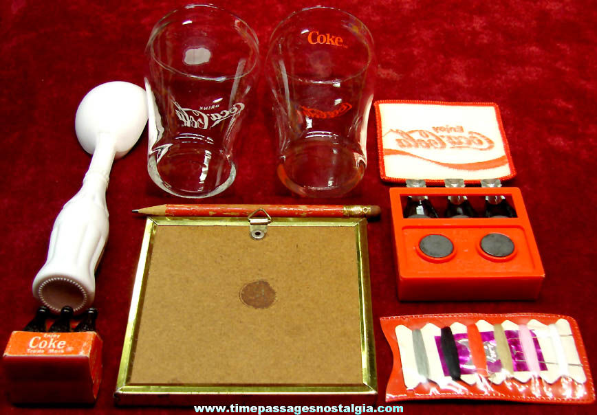 (9) Different Small Old Coca Cola Soda Advertising Premium Promotional and Miniature Items