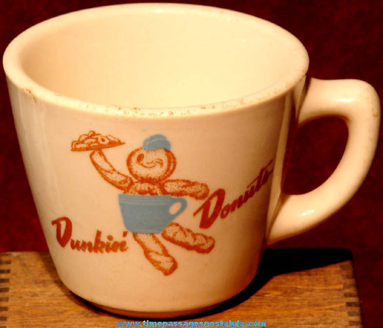 1950s Dunkin' Donuts Restaurant Dunkie Advertising Character Heavy Ceramic Coffee Cup