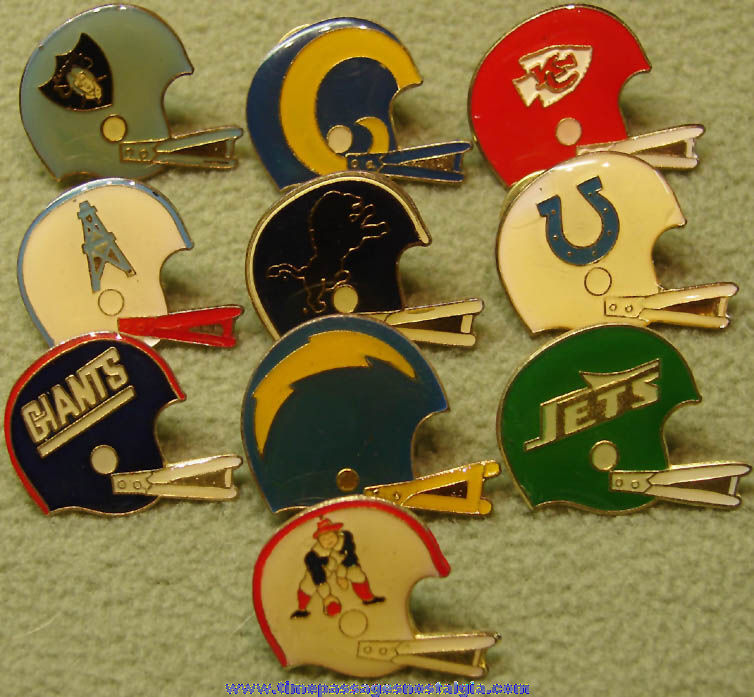 (10) Different National Football League Team Advertising Football Helmet Logo Pins