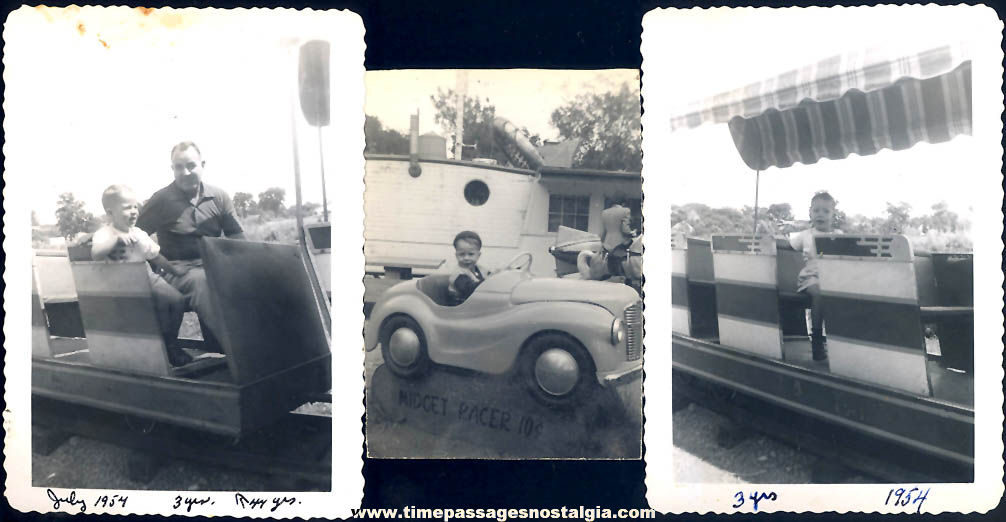 (9) Different Old Carnival or Amusement Park Kiddie Ride and Coin Operated Ride Photographs