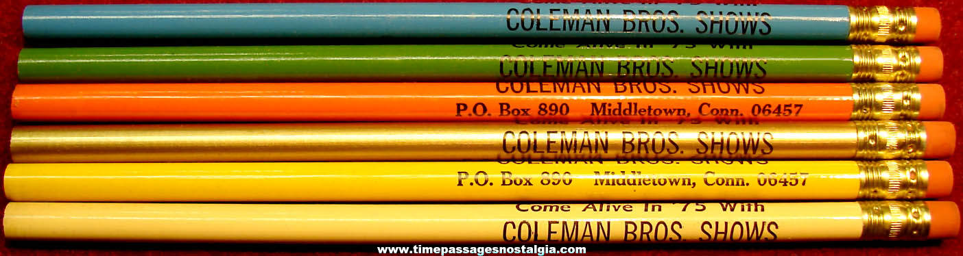 (6) Unused Different Color 1975 Coleman Brothers Shows Advertising Souvenir Pencils
