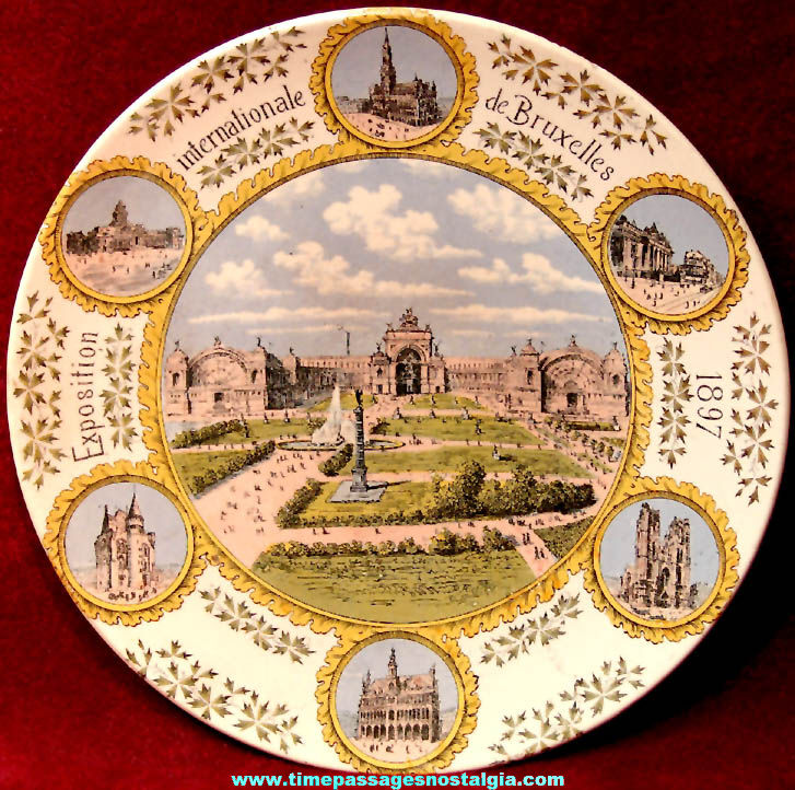 Colorful 1897 Brussels International Exposition World's Fair Advertising Souvenir Ceramic Plate