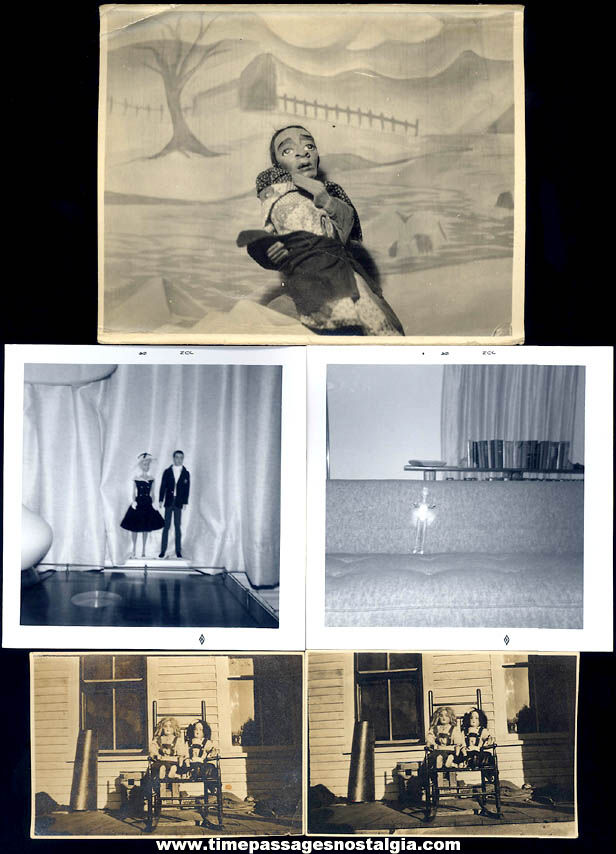 (5) Old Toy Doll & Barbie Doll Black & White Photographs