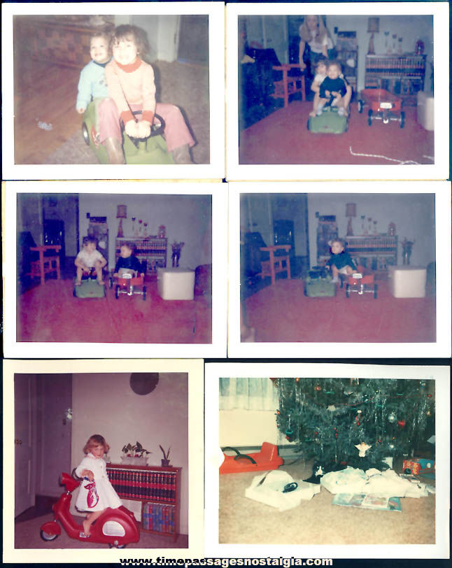 (6) Old Color Photographs of Children On Old Ride On Toy Vehicles