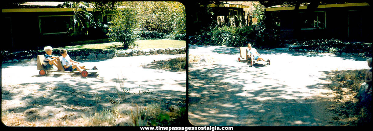 (2) Different Old Color Photograph Slides of Children Riding a Home Made Wooden Go Cart