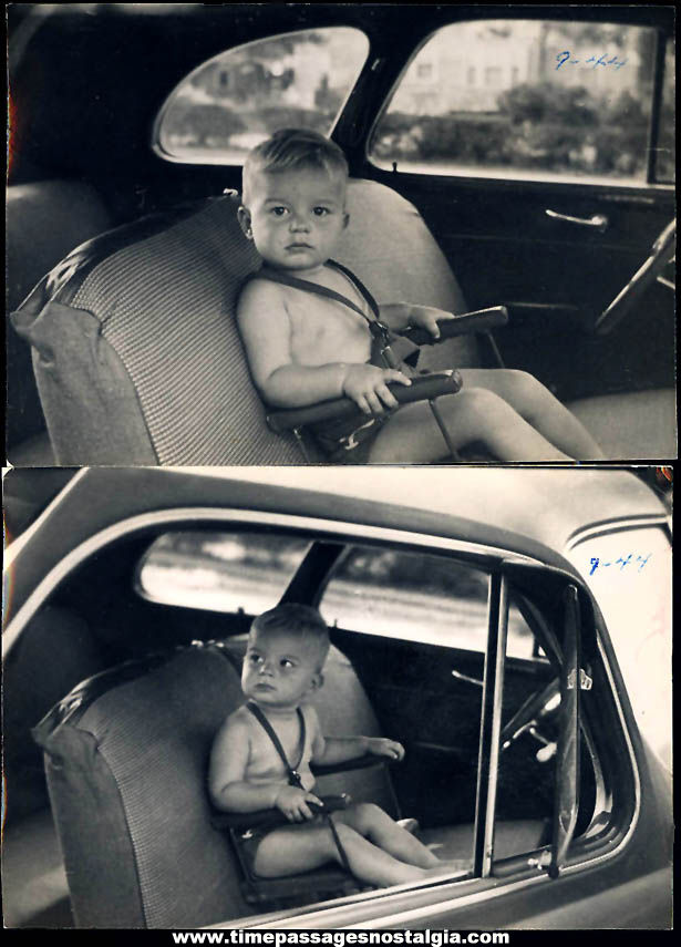 (2) 1944 Black & White Photographs of a Child in a Car Seat