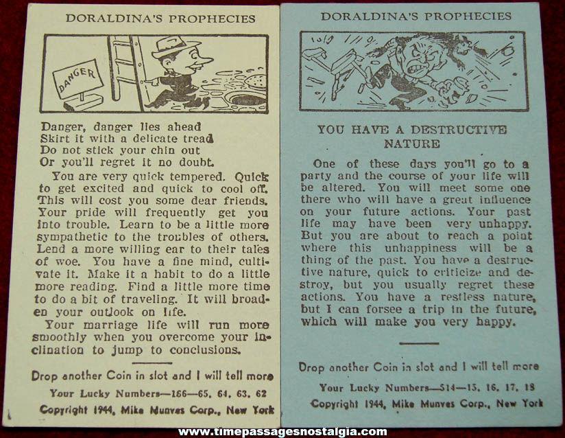 (2) Different ©1944 Doraldina's Prophecies Fortune Telling Arcade Machine Advertising Cards