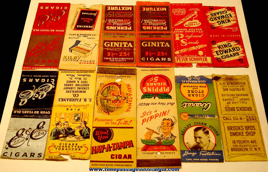 (12) Different Colorful Old Cigar Advertising Match Pack Covers