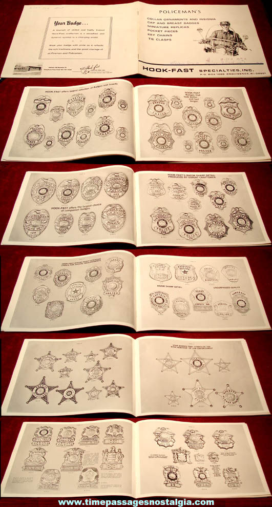 Old Hook Fast Specialties Illustrated Police Badge Insignia Jewelry Pin Catalog