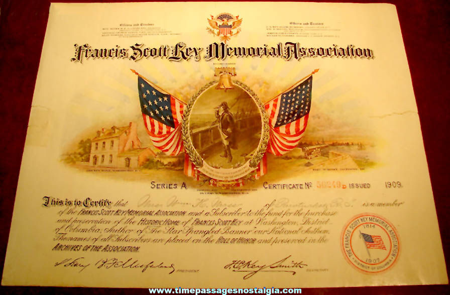 (3) 1909 Francis Scott Key Memorial Association Historic Certificates and Document