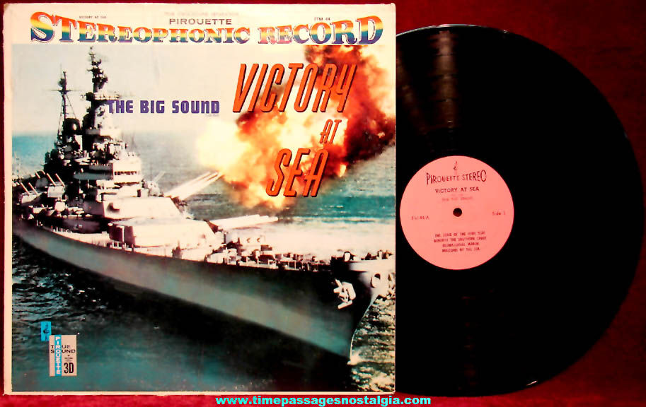 Old United States Navy Sailor Victory At Sea Stereophonic Record Album