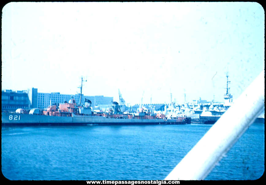 Old United States Navy Ship U.S.S. Johnston DD-821 Color Photograph Slide