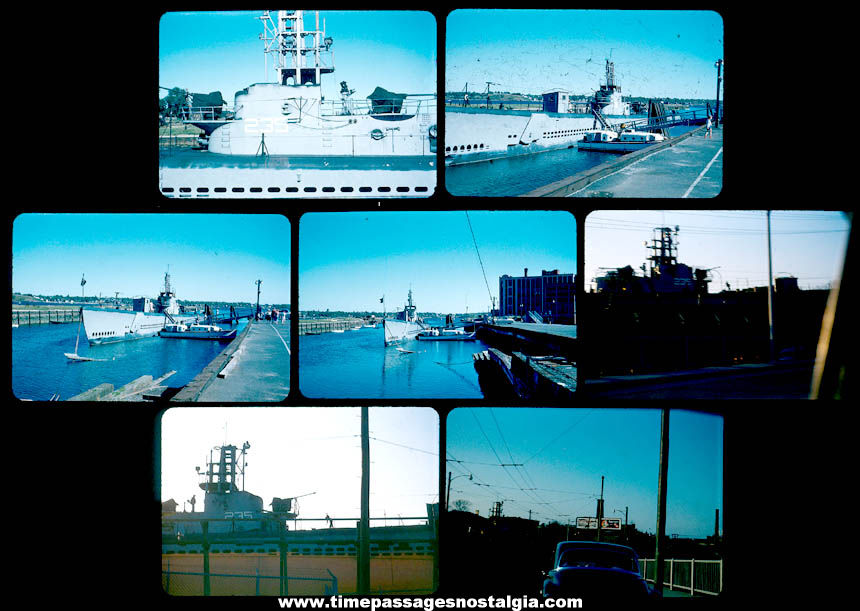 (7) Different Old United States Navy Submarine U.S.S. Shad SS-235 Color Photograph Slides