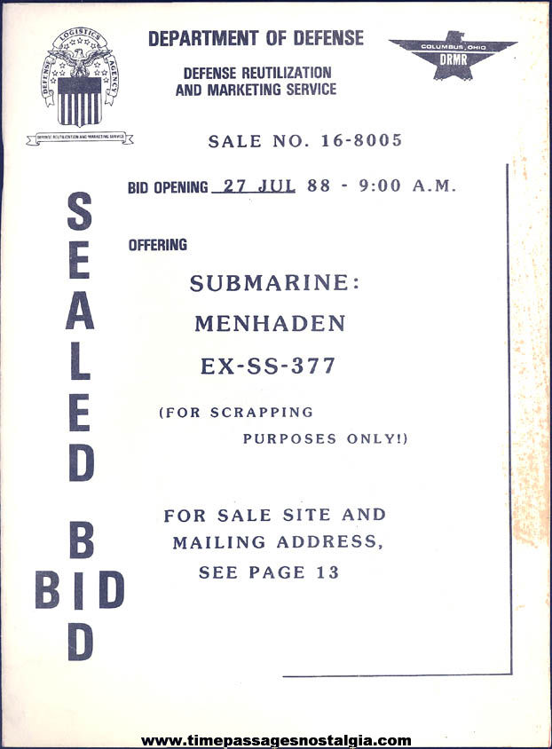 1988 United States Navy Submarine U.S.S. Menhaden SS-377 DOD Scrapping Sealed Bid Booklet