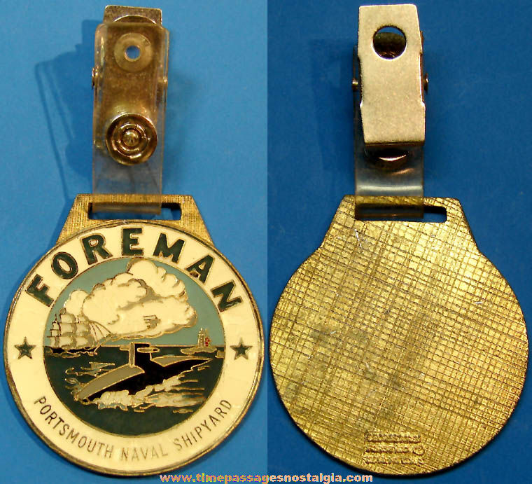 United States Navy Portsmouth Naval Shipyard Sails To Atoms Enameled Metal Forman Badge