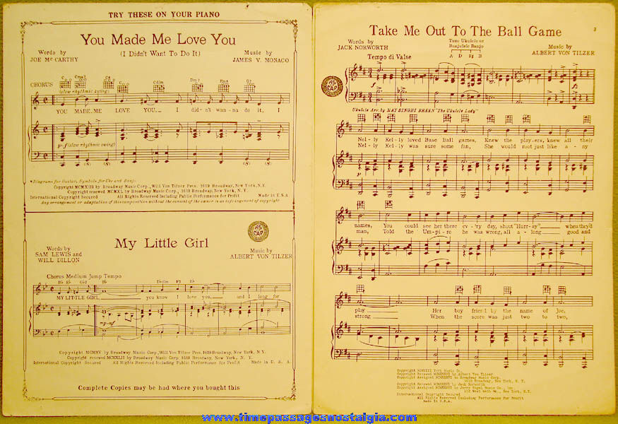 Jack Norworth Twice Autographed 1949 Take Me Out To The Ball Game Movie Music Song Sheet