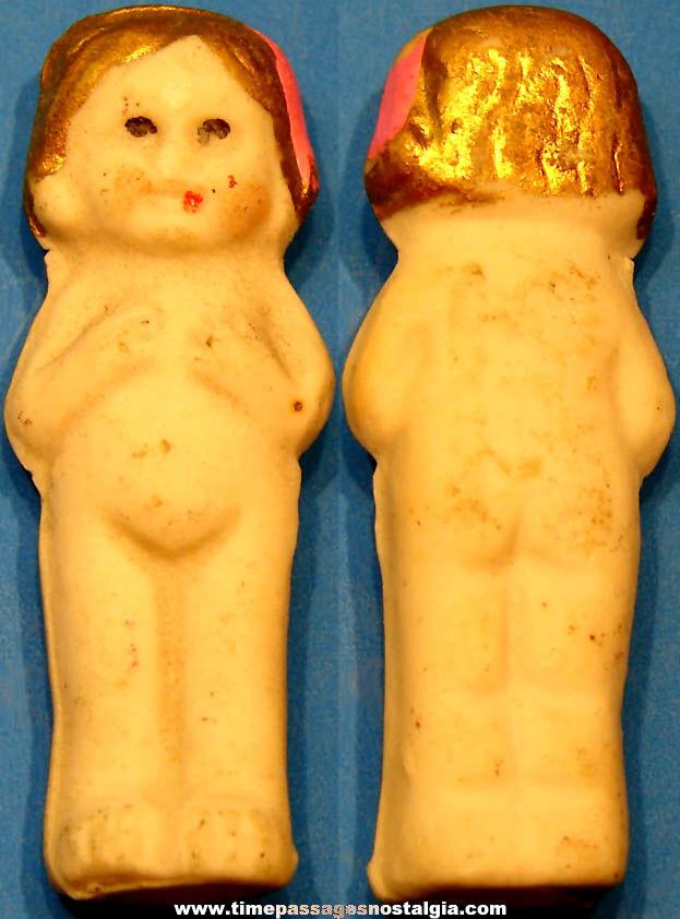 1930s Cracker Jack Pop Corn Confection Painted Porcelain or Bisque Toy Prize Girl Doll Figure