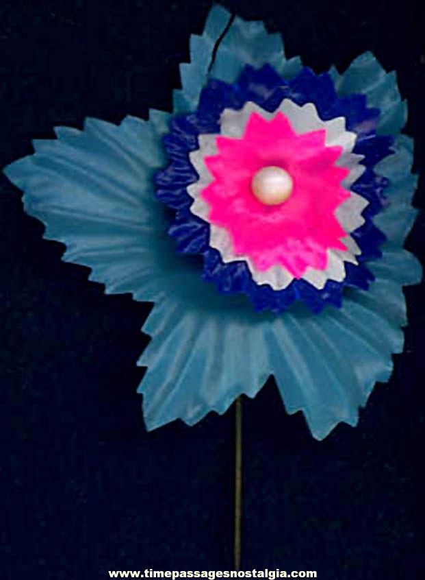 Colorful Old Cracker Jack Pop Corn Confection Celluloid Flower Prize Pin