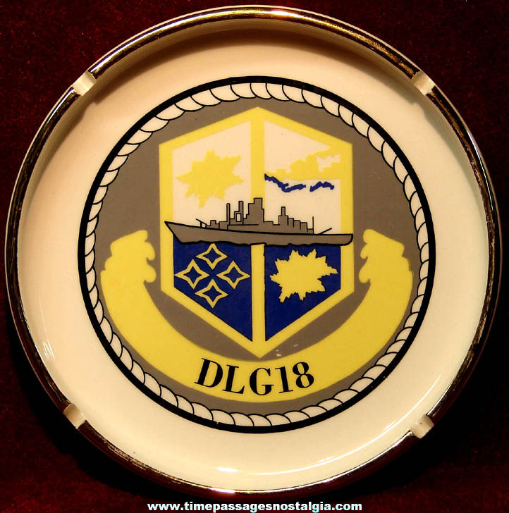 Old United States Navy Ship U.S.S. Worden DLG-18 CG-18 Advertising Souvenir Cigarette Ash Tray