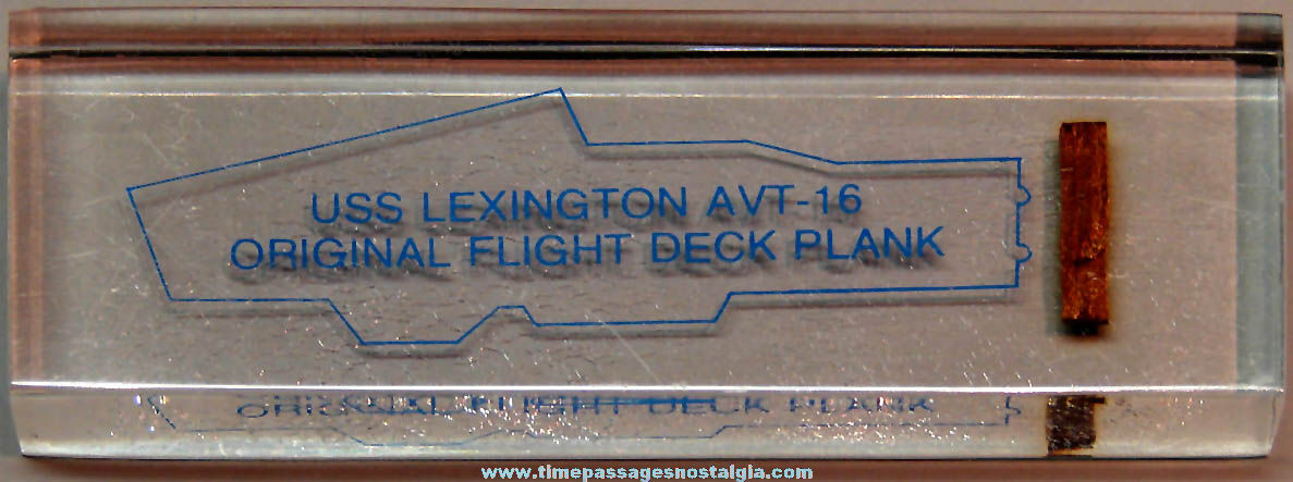 Old United States Navy Ship U.S.S. Lexington AVT-16 Advertising Souvenir Flight Deck Plank