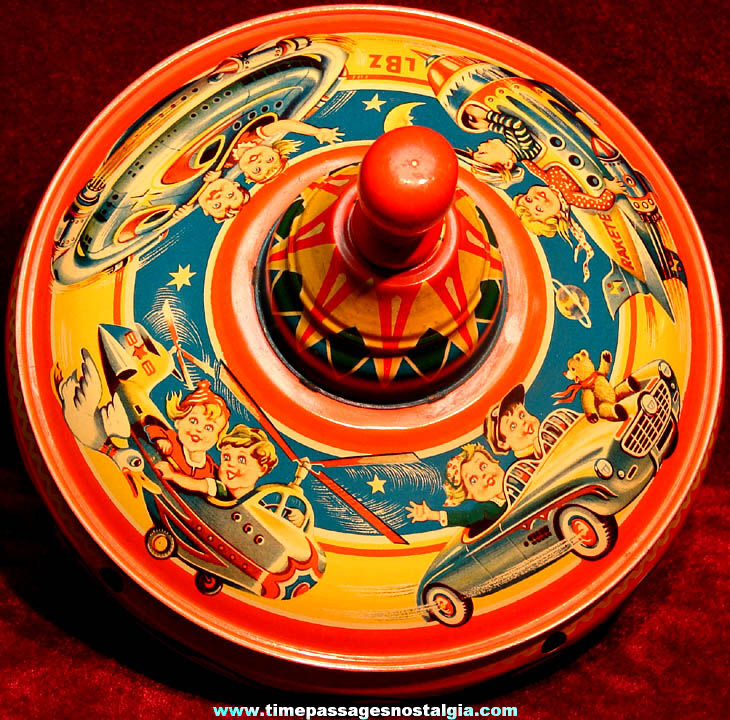 Very Colorful Old West German Space Age Transportation Lithographed Tin Toy Humming & Spinning Top