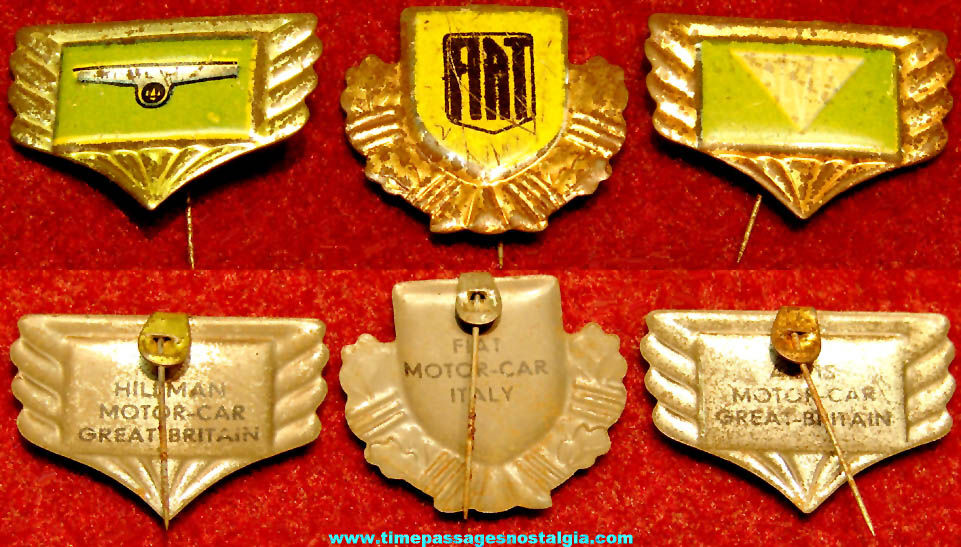 (3) Different Old Automobile Insignia or Emblem Advertising Premium or Prize Lithographed Tin Pins