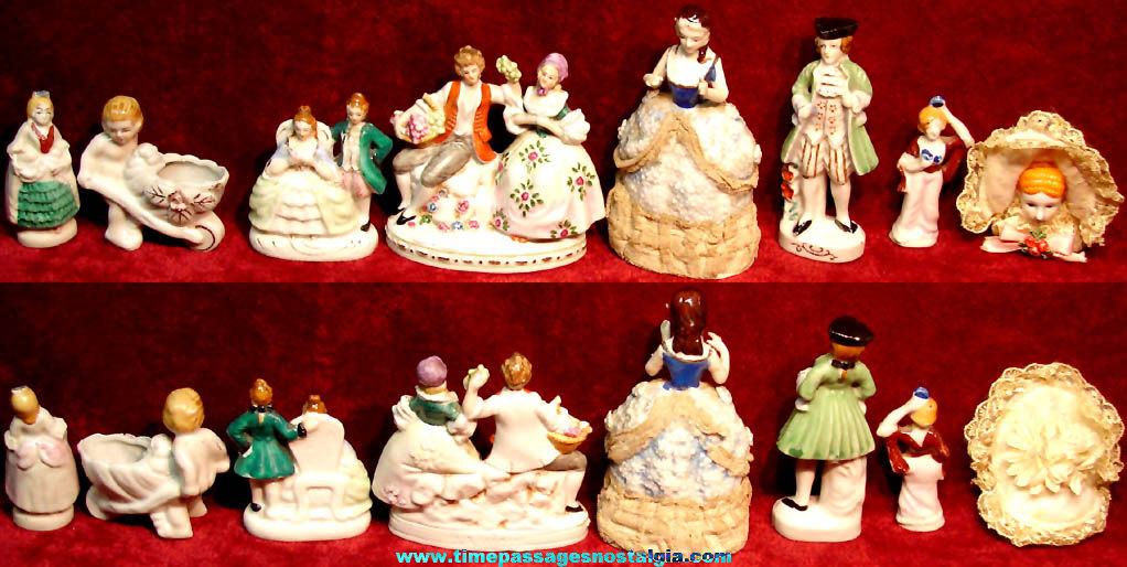 (8) Different Small Colorful Old Victorian Porcelain Figures or Figurines