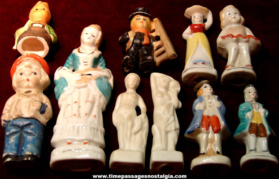 (10) Different Small Colorful Old Victorian Looking Porcelain Figures or Figurines