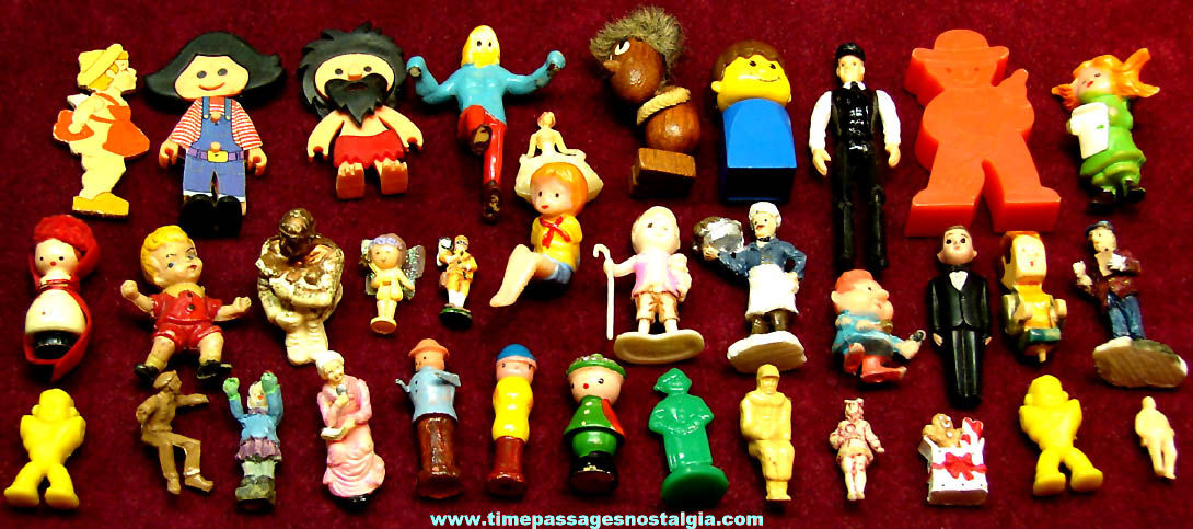 (35) Different Small Colorful Old Miniature People Figures or Figurines