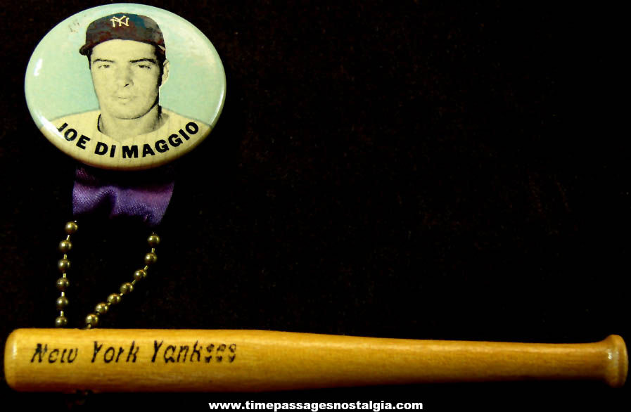 1940s or 1950s Joe Dimaggio New York Yankees Baseball Player Pin Back Button with Miniature Wooden Bat
