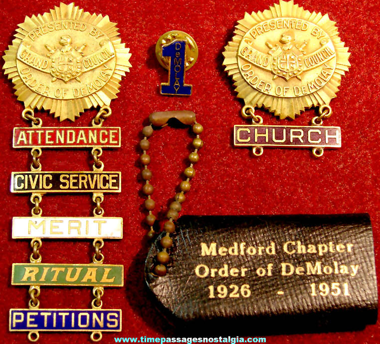 (10) Old Order of Demolay Masonic Member Fraternal Items