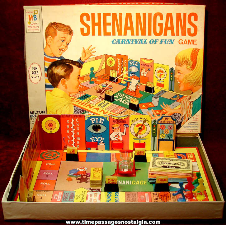 Colorful Complete ©1966 Milton Bradley Shenanigans Carnival of Fun Boxed Board Game