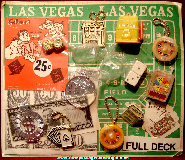 Large Old Gum Ball Machine Advertising Header Card with (20) Gambling Toy Prizes