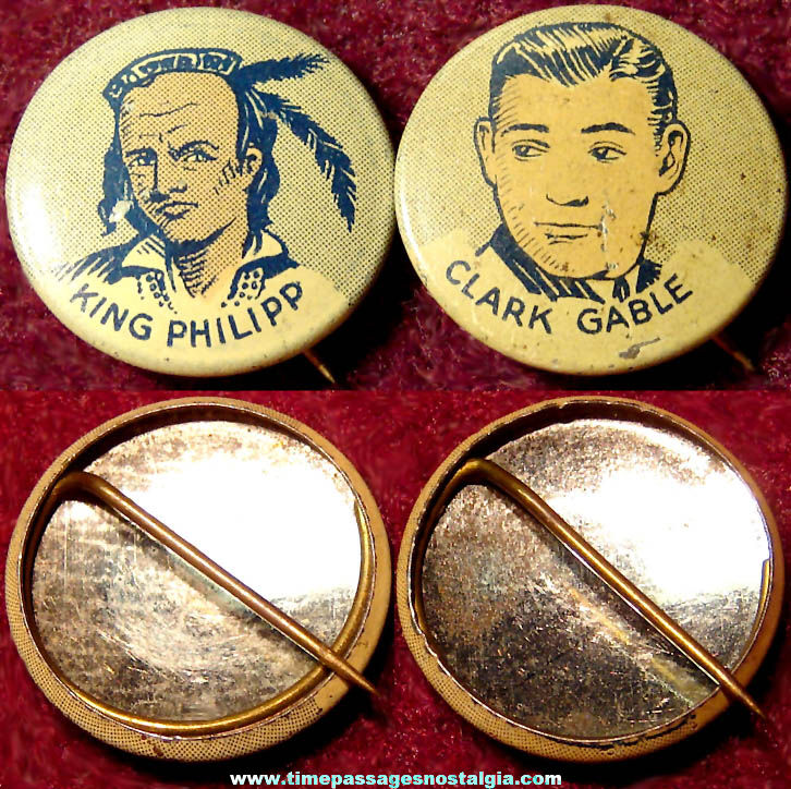 (2) Different 1930s Cracker Jack Pop Corn Confection Lithographed Tin Toy Prize Pin Pack Buttons
