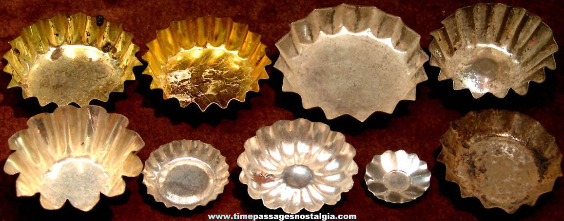 (9) Different Old Cracker Jack Pop Corn Confection Embossed Tin Toy Prize Miniature Cake or Jell-O Mold Pans