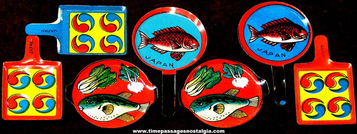 (7) Colorful Old Cracker Jack Pop Corn Confection Lithographed Tin Toy Prize Miniature Frying Pans & Plates