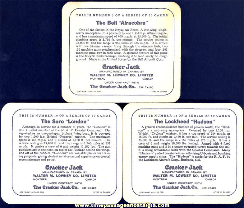 (3) Different Old Lowney's Cracker Jack Pop Corn Confection Military Aircraft or Airplane Trading Cards