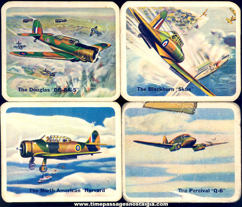 (4) Different Old Lowney's Cracker Jack Pop Corn Confection Military Aircraft or Airplane Trading Cards