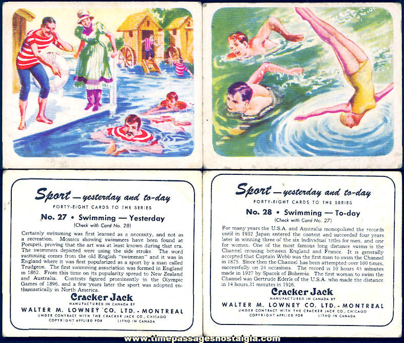 (2) Different Old Lowney's Cracker Jack Pop Corn Confection Yesterday and Today Swimming Sports Trading Cards