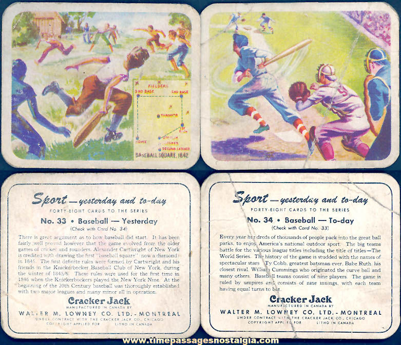 (2) Different Old Lowney's Cracker Jack Pop Corn Confection Yesterday and Today Baseball Sports Trading Cards