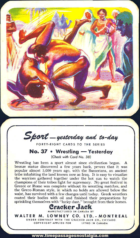 Old Lowney's Cracker Jack Pop Corn Confection Yesterday and Today Wrestling Sports Trading Card
