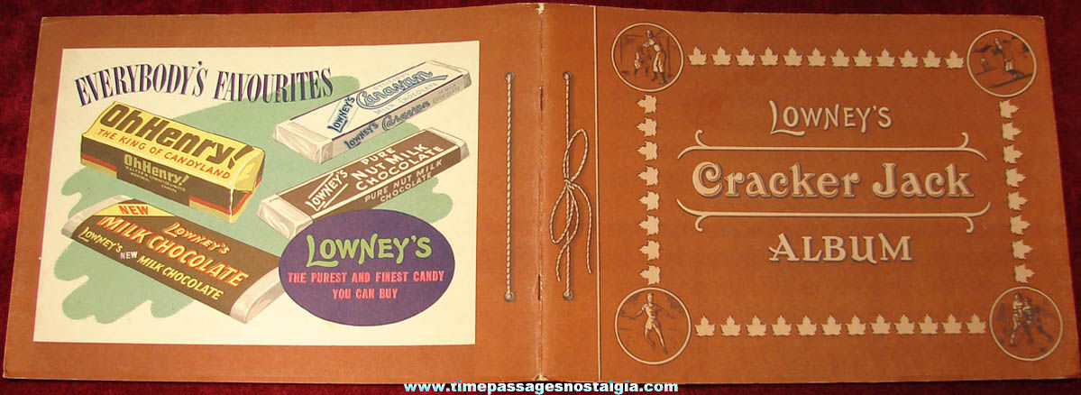Old Unused Lowney's Candy & Cracker Jack Pop Corn Confection Advertising Premium Yesterday and Today Sports Trading Card Album