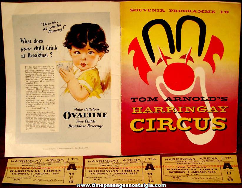 1954 – 1955 Tom Arnold's Harringay Circus Advertising Souvenir Program Book & (3) Tickets